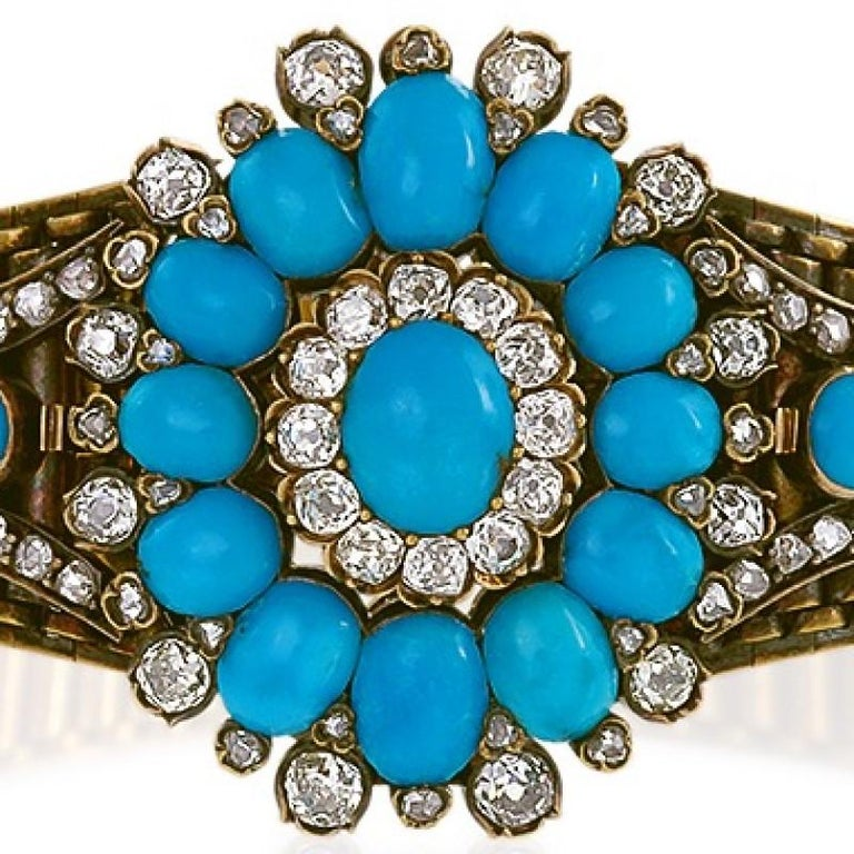Women's Antique Turquoise Diamond and Gold Bracelet or Pendant For Sale