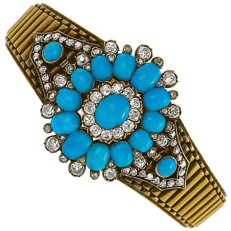 Antique Turquoise Diamond and Gold Bracelet or Pendant For Sale