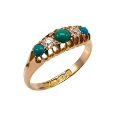 Antique Turquoise and Diamond Boat Shape Ring 18 Karat Yellow Gold, Dated 1893