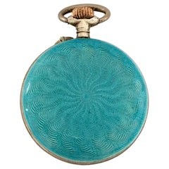 Antique Turquoise Enamel Silver Swiss Fob Watch