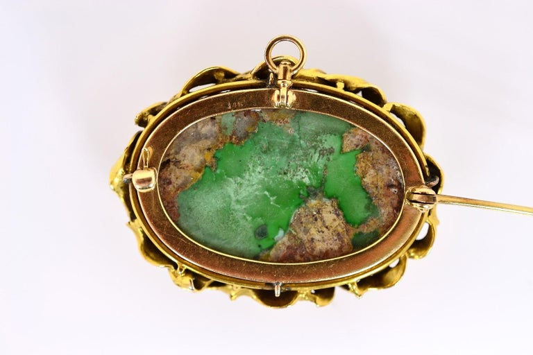 Art Nouveau Antique Turquoise and Gold Brooch For Sale