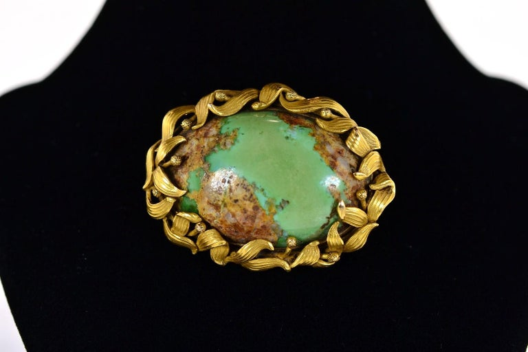 Oval Cut Antique Turquoise and Gold Brooch For Sale