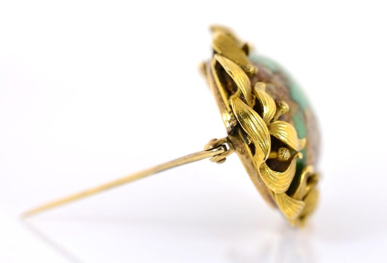 Women's or Men's Antique Turquoise and Gold Brooch For Sale