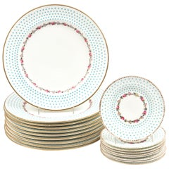 Antique Turquoise & Pink Rose Partial Dinner Set Dinner Plates & Bread Plates