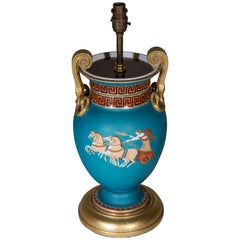 Antique Turquoise Vase Lamp, 19th Century