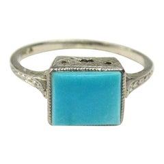 Antique Turquoise White 18 Karat Gold Ring