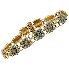 Antique Turquoise Yellow Gold Flower Bracelet