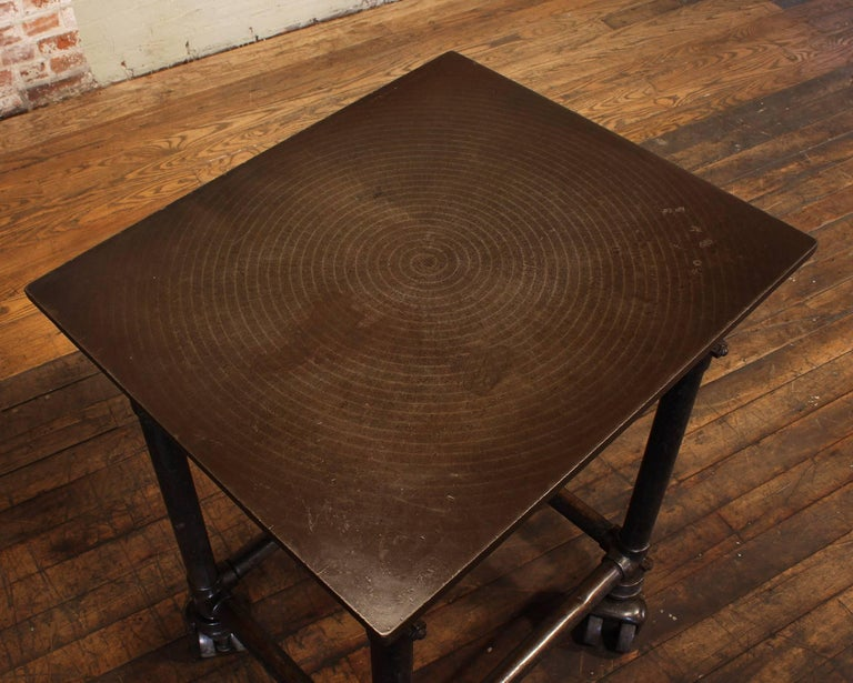 Industrial Antique Turtle Print Table, Rolling Bar Cart For Sale