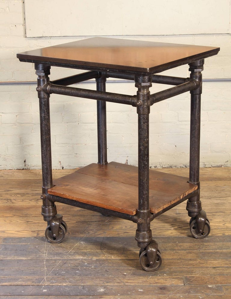 Antique Turtle Print Table, Rolling Bar Cart For Sale 2