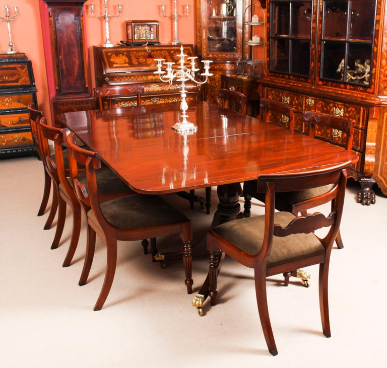 Dining Room For Sale: Antique Twin Pillar Regency Dining Table 19th Century And