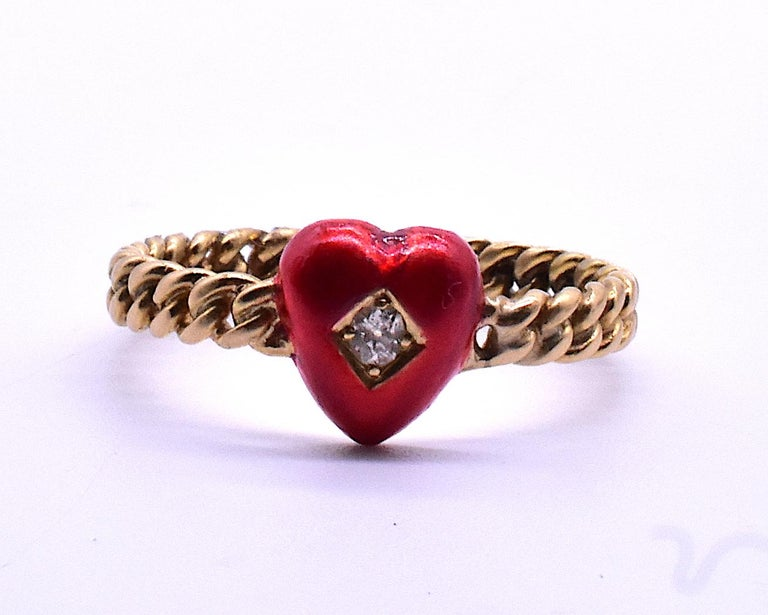 Old Mine Cut Antique Twisted Shank Enamel and Diamond Heart, circa 1900 For Sale