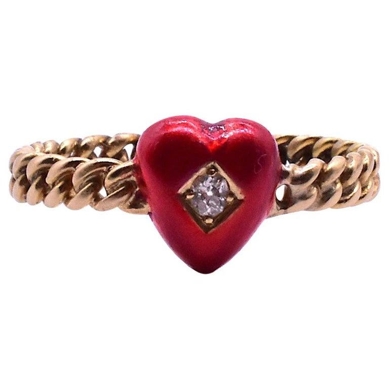 Antique Twisted Shank Enamel and Diamond Heart, circa 1900 For Sale