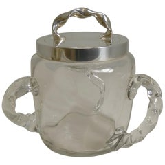 Antique Twisted Three Handled Glass and Silver Plate Biscuit Box, circa 1890