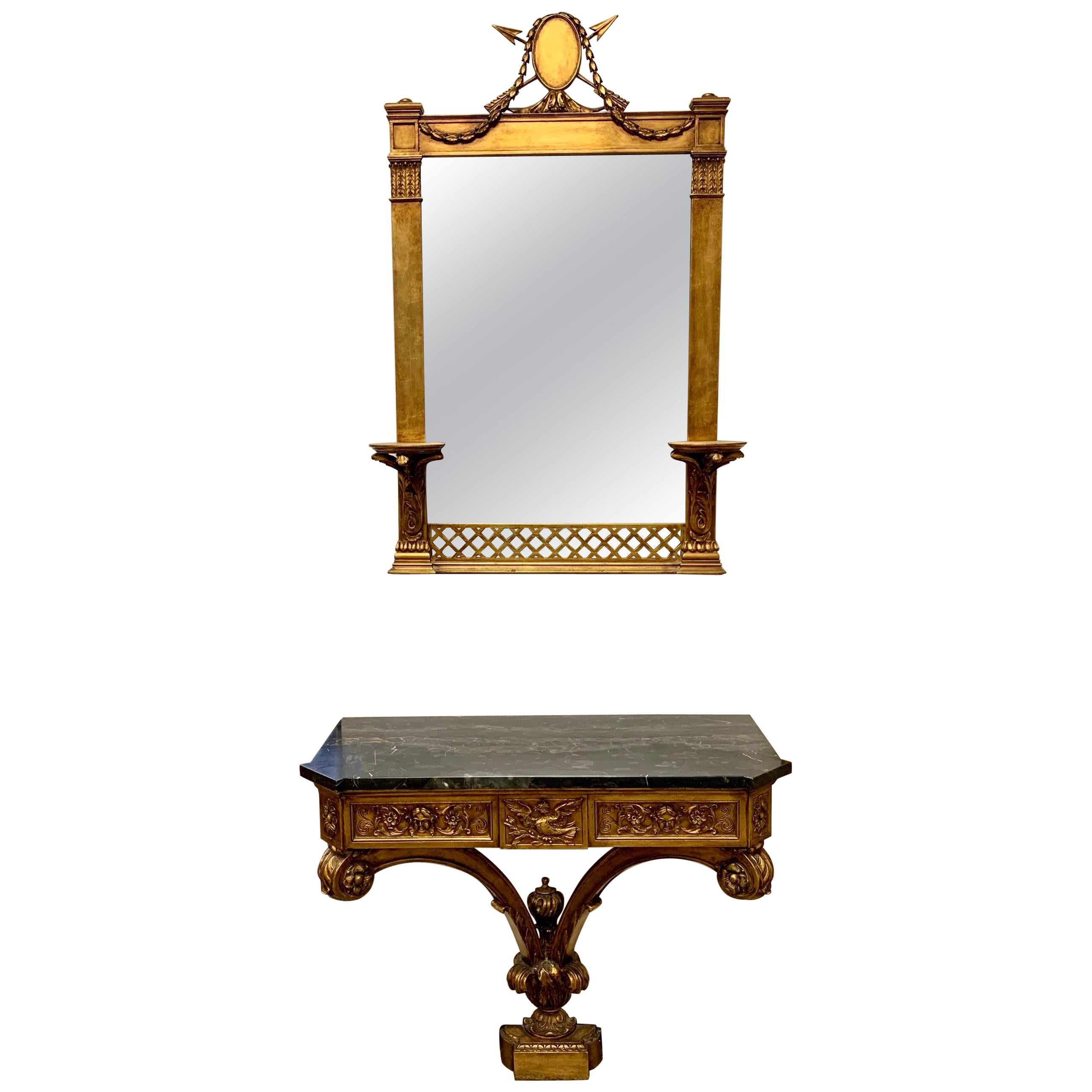 Antique Two Piece Italian Carved Giltwood Mirror and Marble Top Console Demilune