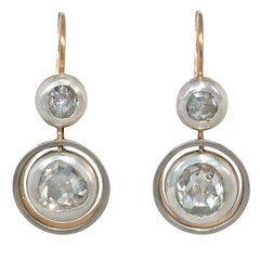 Antique Two-Stone Rose Diamond Drop Earrings in Sterling Silver and Gold