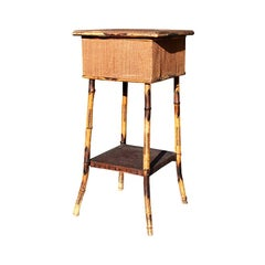 Antique Two-Tier Cane and Scorched Bamboo Tiger Wood Side Table with Storage Top