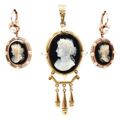 Antique Two Tone Gold Pearl Carved Shell Cameo Set