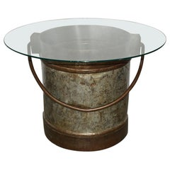 Antique Two-Tone Iron Bucket with Glass Top Coffee Table