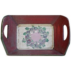 Antique Tyrolean Painted Tray, Red
