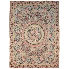 Antique Ukrainian Pink & Beige Wool Bessarabian Kilim Carpet, 1880-1900