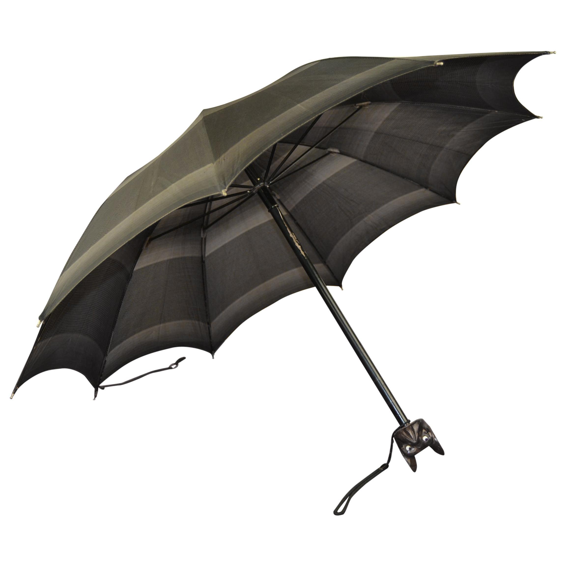 Antique Umbrella with French Bulldog Handle