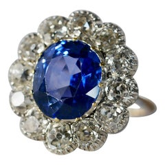 Antique Unheated Blue Ceylon Sapphire and Old Cut Diamond Ring, Certificated