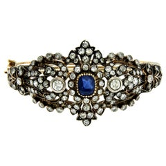Antique Sapphire Gold and Silver Diamond Bangle Bracelet