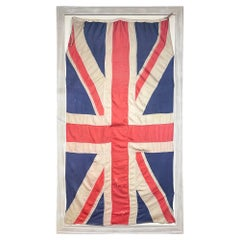 Antique Union Jack Flag in Greige Finished Fluted Wood Frame