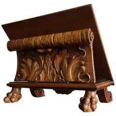 Antique & Unique Adjustable Bookstand with Hand Carved Leaf Pattern & Claw Feet