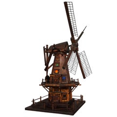 Antique & Unique Early 1900s Dutch Folk Art Scale Model Windmill w. Light Inside