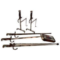 Antique Unique Fire and Tool Set and Stands, circa 1880