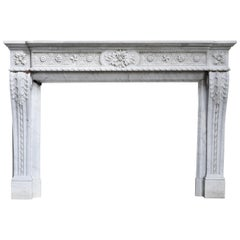 Antique Unique Fireplace of Carrara Marble from the 18th Century