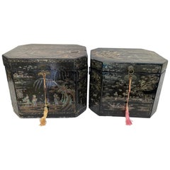 Antique Unique Large Pair of Shell Inlaid Black Lacquer Chinese Book Boxes