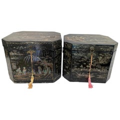 Antique Unique Large Two of Shell Inlaid Black Lacquer Chinese Book Boxes