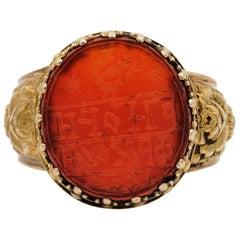 Antique Unisex 1803 Carnelian 18 Karat Repousse Signet Ring