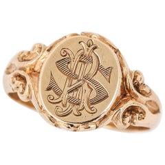 Antique Unisex Monogram Signet Ring, English Circa 1926