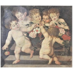 Antique Unsigned Oil Painting on Canvas of Young Children Playing Together