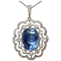 Antique Untreated No Heat 9.0 Ct Sapphire Diamonds Pendant Necklace, circa 1910