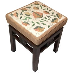 Antique Upholstered Chinese  Stool