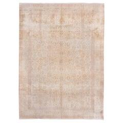 Antique Urban Silk Turkish Hereke Carpet, Pink Accents, Neutral Palette