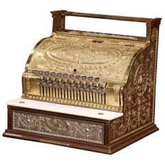 Antique US Nickel Bronze and Marble National Cash Register 1543744, circa 1915