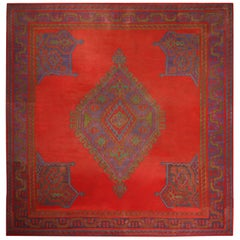 Antique Usak Red Blue and Green Wool Kilim Square Rug