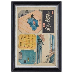 Antique Utagawa Hiroshige Woodblock Print in Antique Frame, Japan, 19th Century