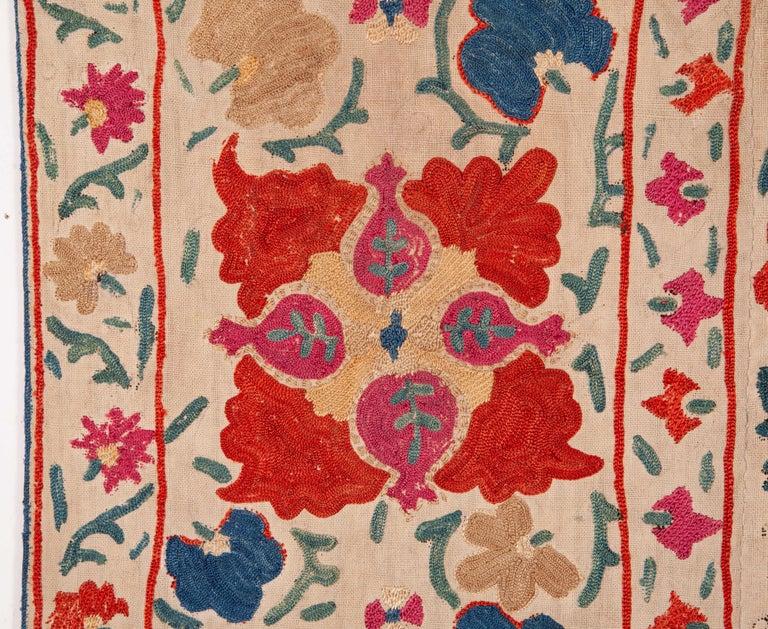 Embroidered Antique Uzbek Bukhara Nim Suzani, 19th Century For Sale