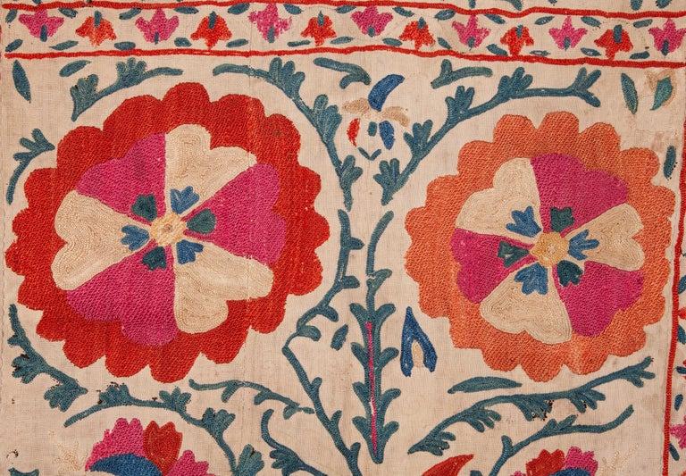 Silk Antique Uzbek Bukhara Nim Suzani, 19th Century For Sale