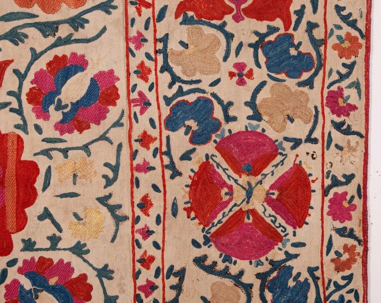 Antique Uzbek Bukhara Nim Suzani, 19th Century For Sale 1