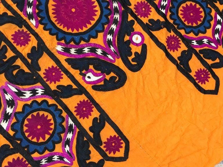 Silk Antique Uzbek Suzani Embroidery For Sale