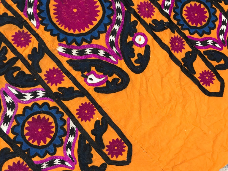 Silk Antique Uzbek Suzani Embroidery