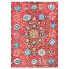 """Antique Uzbek Suzani Embroidery Textile. Size: 6' x 8' 5"""" (1.83 m x 2.57 m)"""