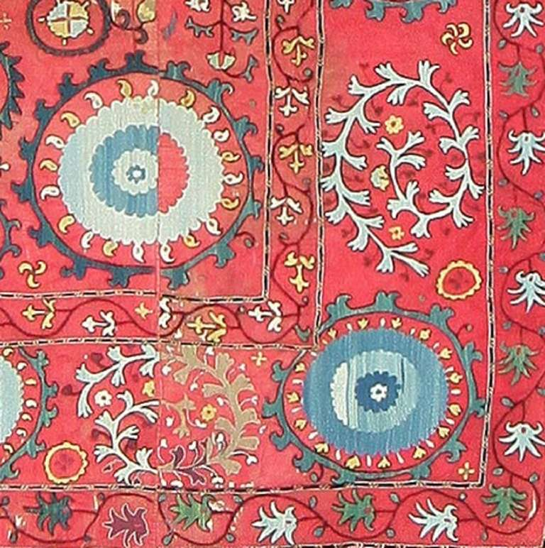 Antique Uzbek Suzani Embroidery Textile. Size: 6' x 8' 5